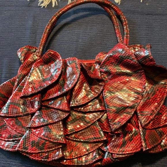2/$20 Charming Charlie Red and Black Snakeskin Bag